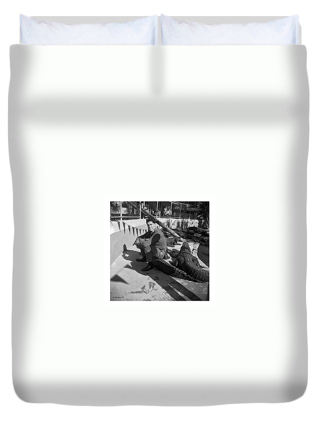 2d Duvet Cover featuring the photograph I Need Some Gator Aid by Brian Wallace