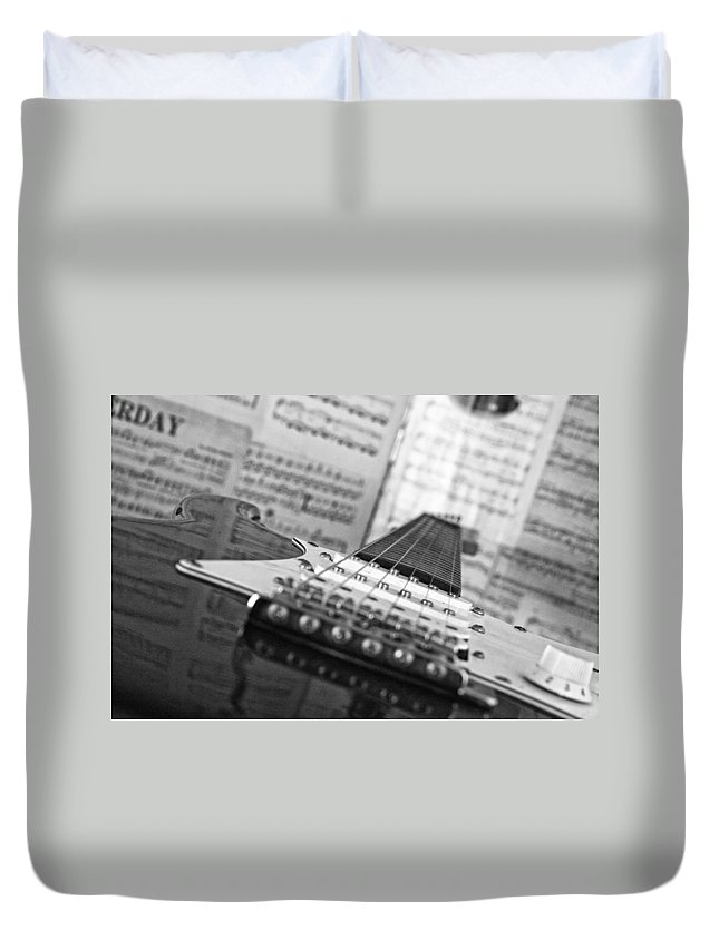 Electric Guitar Duvet Cover featuring the photograph Ibanez Six String Black And White by Frank Morales Jr