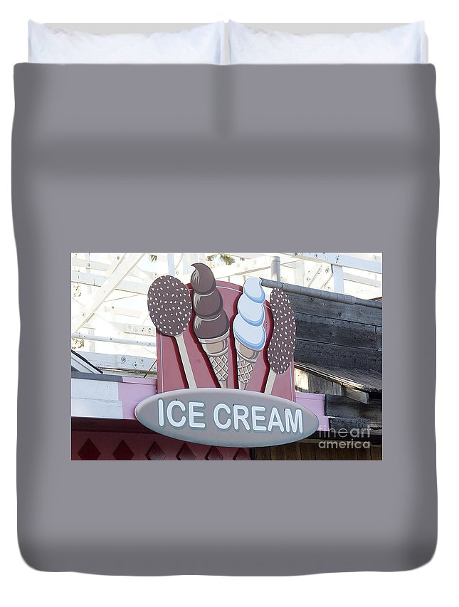Ice Cream Duvet Cover featuring the photograph Ice Cream Sign by Jim And Emily Bush