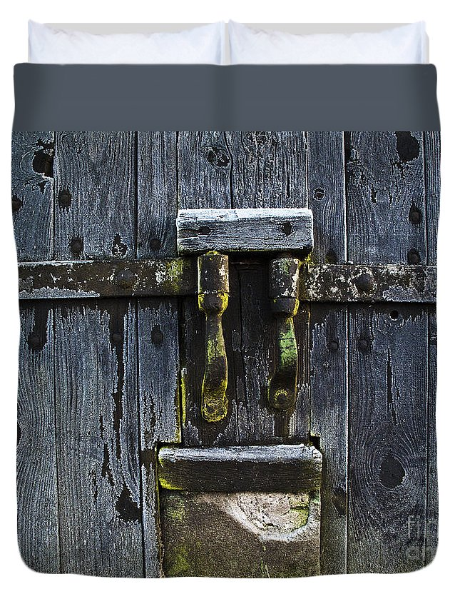 Door Duvet Cover featuring the photograph Ice Crystals On Wooden Gate by Heiko Koehrer-Wagner