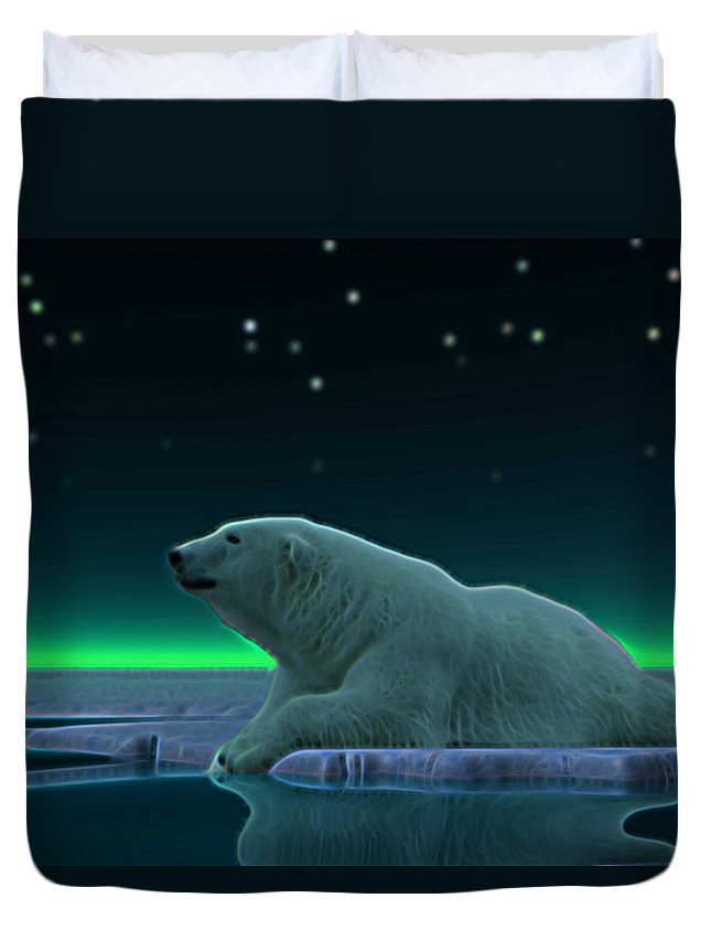 Bear polar Bear ursus Maritimus Arctic ice Pack Ice north Pole Wildlife Animals Nature northern Lights aurora Borealis Duvet Cover featuring the digital art Ice Edge by David Devoe
