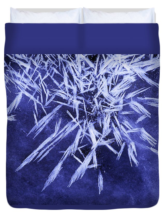 Light Duvet Cover featuring the photograph Ice Patterns On Wedge Pond by Darwin Wiggett