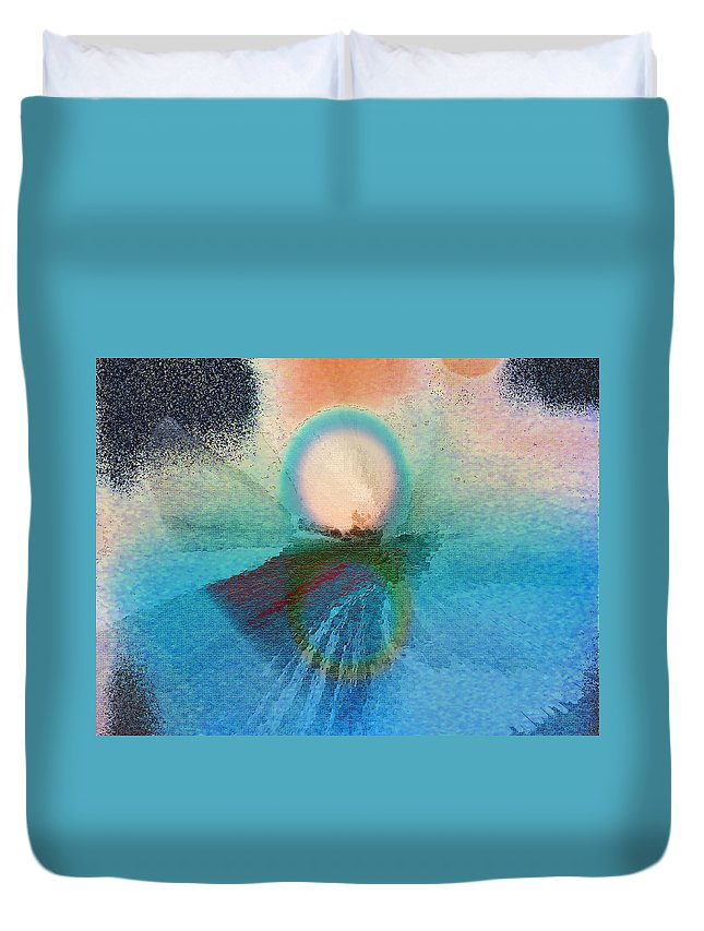 Abstract Duvet Cover featuring the digital art Ice Reflections by Lenore Senior