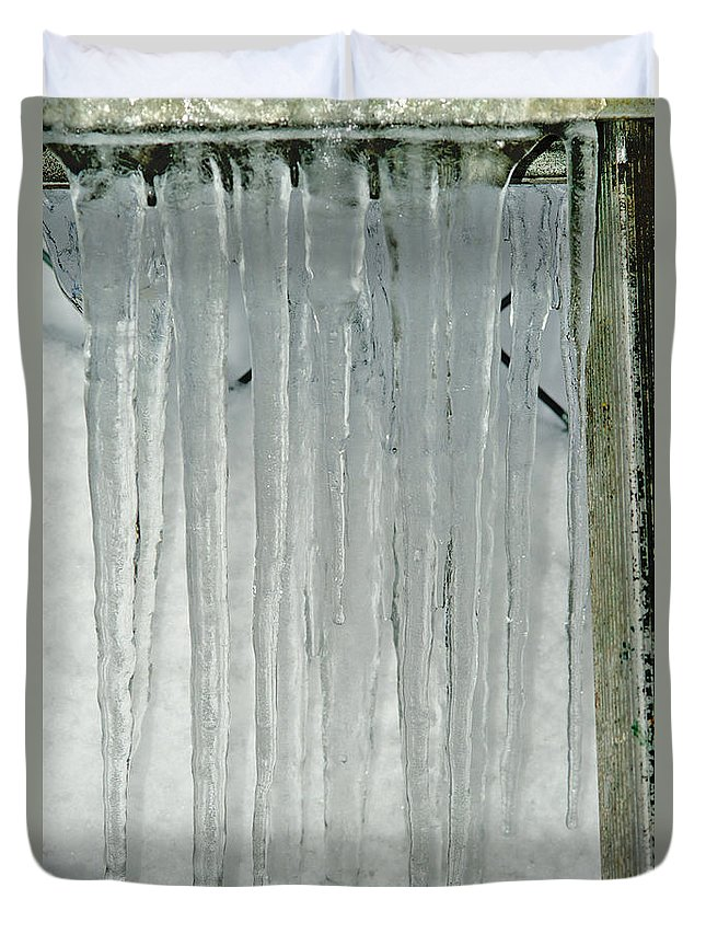 Icicles Duvet Cover featuring the photograph Icicles by Randy Harris