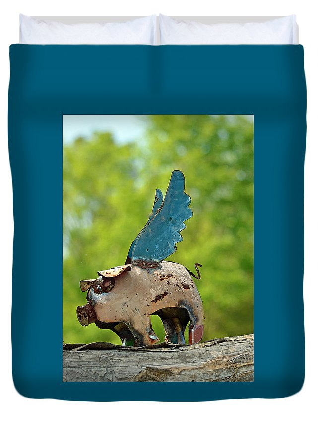 If Pigs Could Fly Duvet Cover featuring the photograph If Pigs Could Fly by Patricia Caldwell