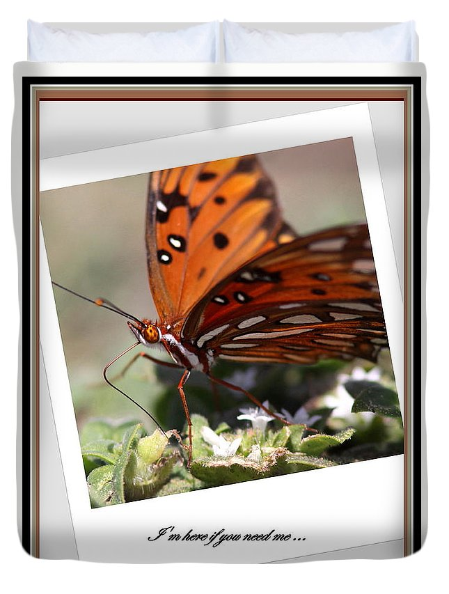 Cards Duvet Cover featuring the photograph If You Need Me - Butterfly by Travis Truelove
