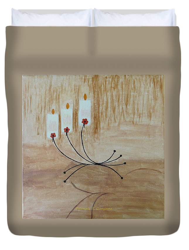 Candles Illuminating The Area On Beautiful Candlestand Duvet Cover featuring the painting Illumination by Sonali Gangane
