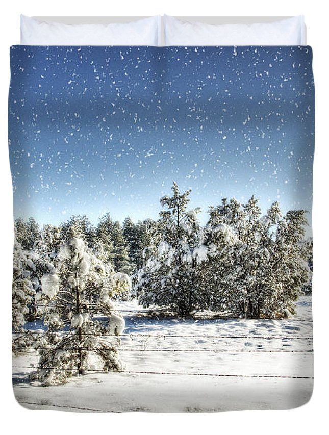 Winter Duvet Cover featuring the photograph I'm Dreaming Of A White Christmas by Saija Lehtonen