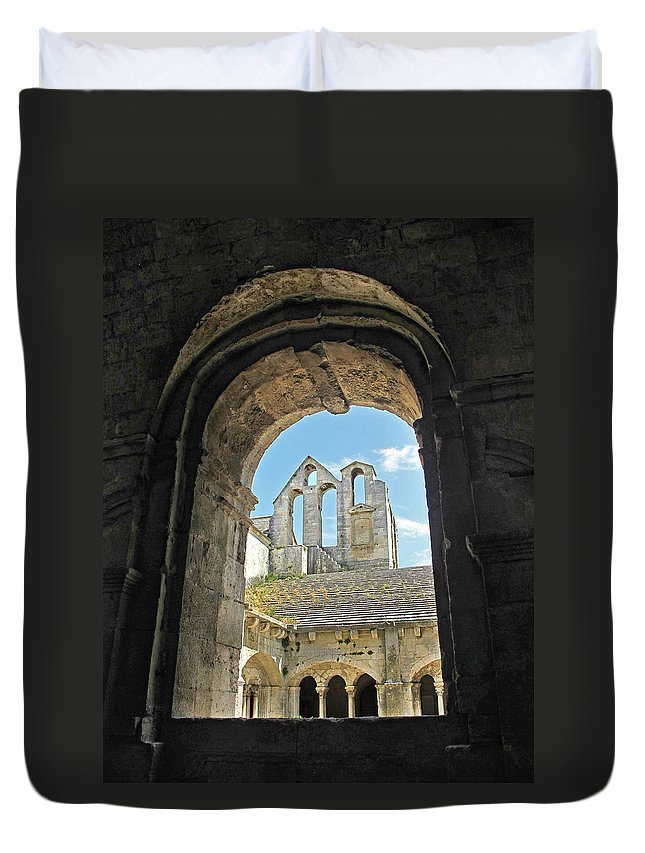 Monastery Duvet Cover featuring the photograph In A Monastery by Dave Mills