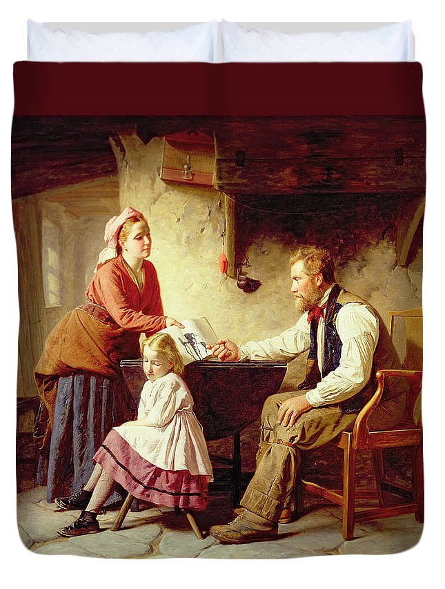 Domestic Interior; Farmer; Family; Child; Naughty; Copybook; Mother; Father; Peasant; Victorian; Sentiment; Idealised; Flagstone Floor; Parenthood; Fatherhood Duvet Cover featuring the painting In Disgrace by William Henry Midwood