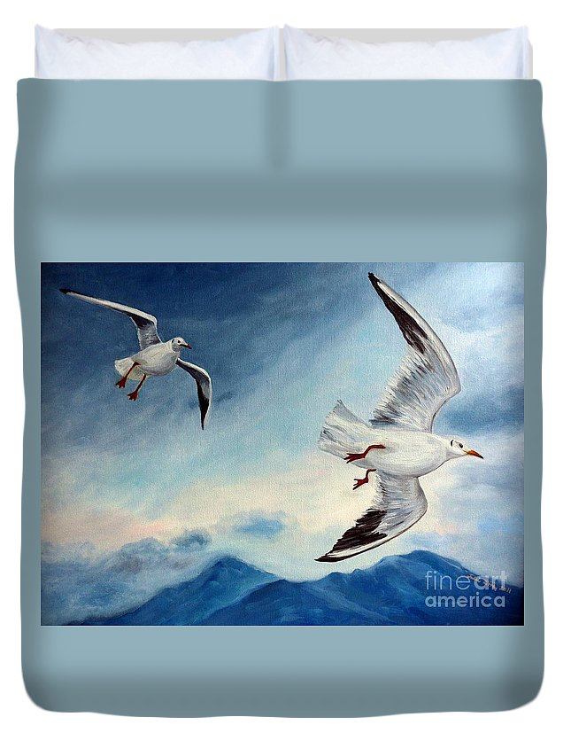 Seagulls Duvet Cover featuring the painting In Flight by Julie Brugh Riffey