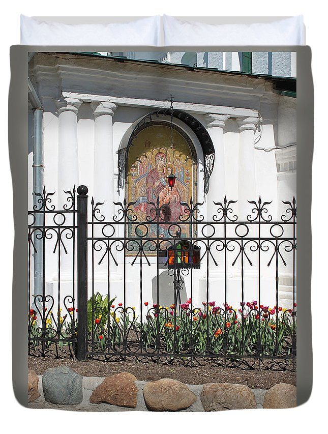 Church Duvet Cover featuring the photograph In Front Of Church by Evgeny Pisarev