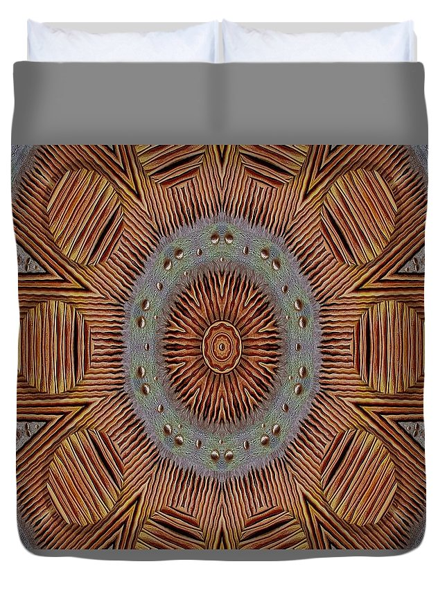 Wooden Duvet Cover featuring the mixed media In Japan Style by Pepita Selles