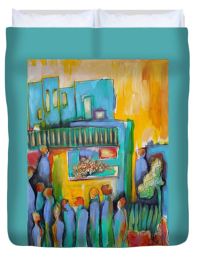 City Duvet Cover featuring the painting In Passing by Darcy Lee Saxton