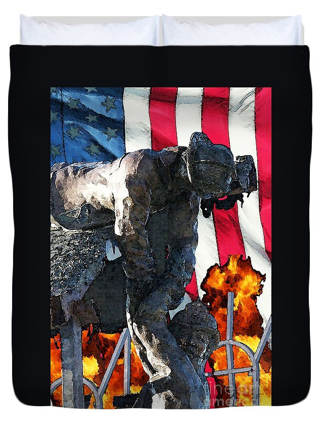 Fire Department Duvet Cover featuring the digital art In Remembrance Of 911 by Tommy Anderson