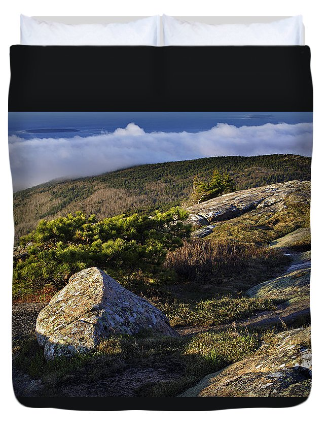 Cadillac Mountain Photographs Duvet Cover featuring the photograph In The Clouds At Cadillac by Rick Berk