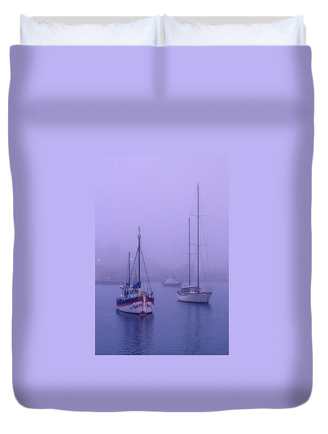 Boats Duvet Cover featuring the photograph In The Mist by Robert Caddy