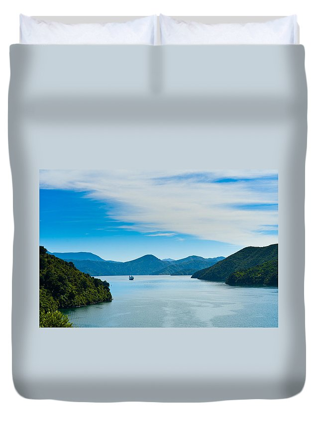 Bay Duvet Cover featuring the photograph Incoming Ferry Through A Fjord by U Schade