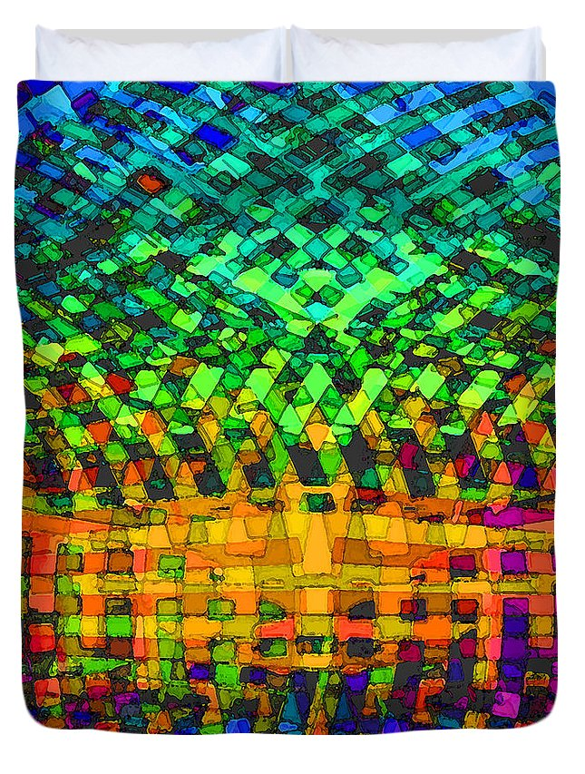 Abstract Duvet Cover featuring the digital art Incurvature by ME Kozdron