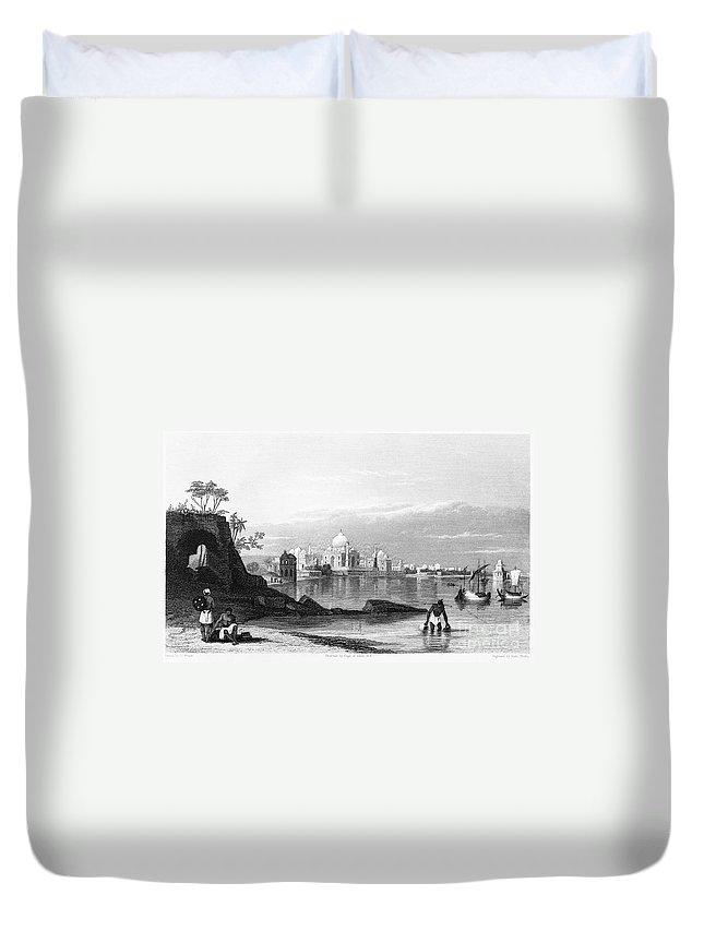 1860 Duvet Cover featuring the photograph India: Taj Mahal, C1860 by Granger