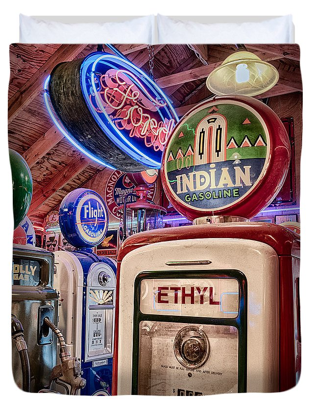 2012 Duvet Cover featuring the photograph Indian Gasoline by Matt Suess