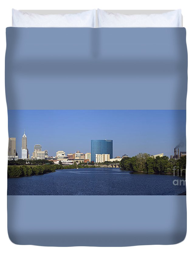 Indianapolis; Panorama; Pano; Indiana; Skyline; City; Capital; Urban; White; River; State; Park; Skyscraper; Architecture; Lucas; Oil; Stadium; Water; Blue Sky; Summer; Mariott; Hotel; Midwest; Midwestern; Marion County; United; States; Of; North; America; American; Usa Duvet Cover featuring the photograph Indianapolis - D007990 by Daniel Dempster