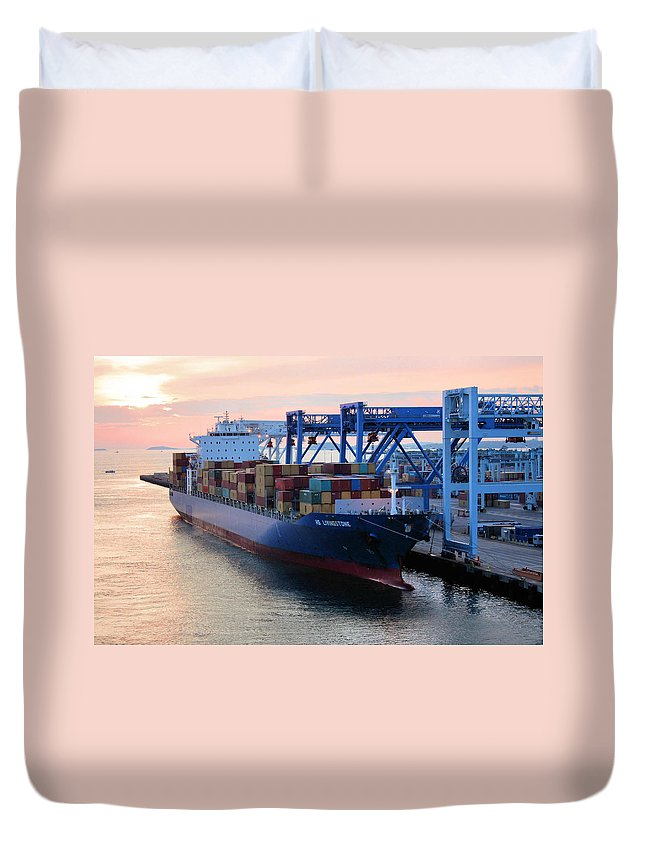 Boston Duvet Cover featuring the photograph Industrial Boston by Kristin Elmquist