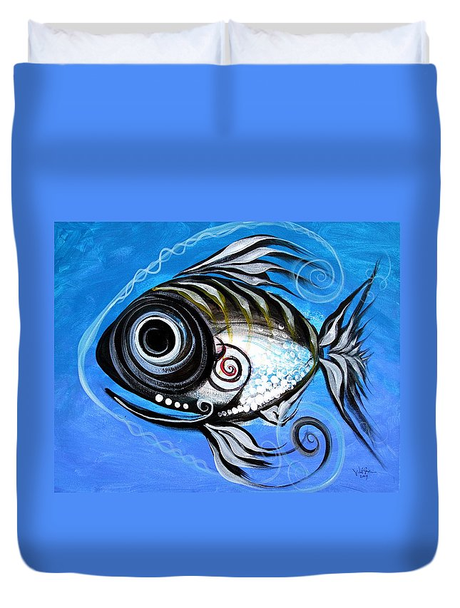 Fish Paintings Duvet Cover featuring the painting Industrial Goddess by J Vincent Scarpace