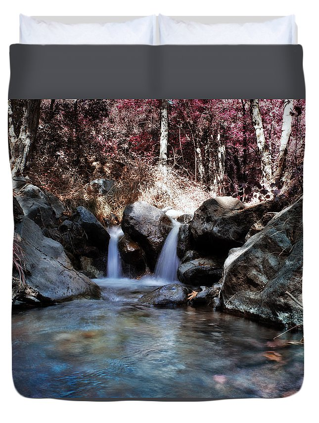 Angle Duvet Cover featuring the photograph Infrared Waterfall by Stelios Kleanthous