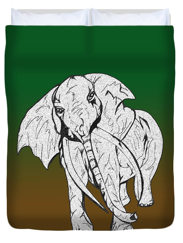 Abstract Duvet Cover featuring the drawing Inked Elephant In Green And Brown by Mary Mikawoz