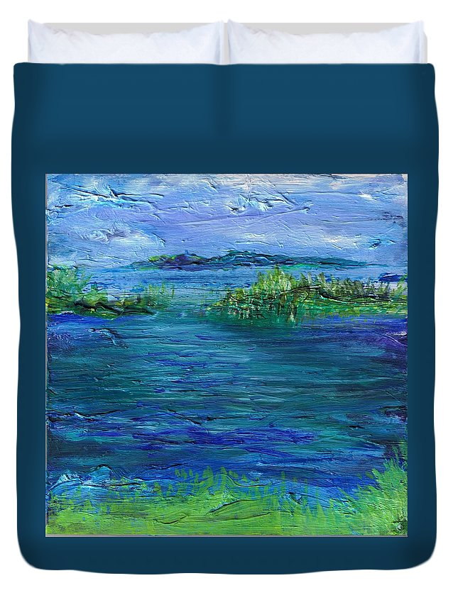 Water Duvet Cover featuring the painting Inlet by Regina Valluzzi