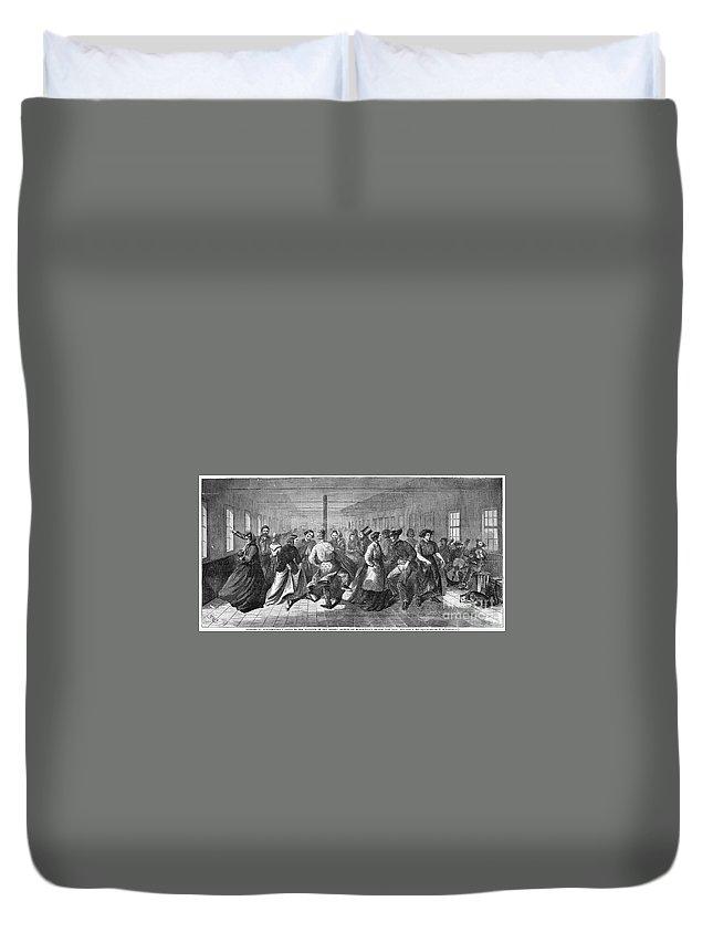 1865 Duvet Cover featuring the photograph Insane Asylum: Dance by Granger