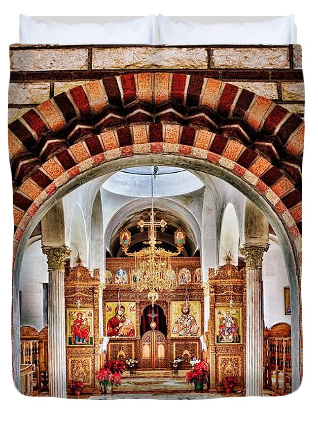 Florence Duvet Cover featuring the photograph Inside St. Nicholas Chapel At A Greek Monastary In Florence Az by Matt Suess