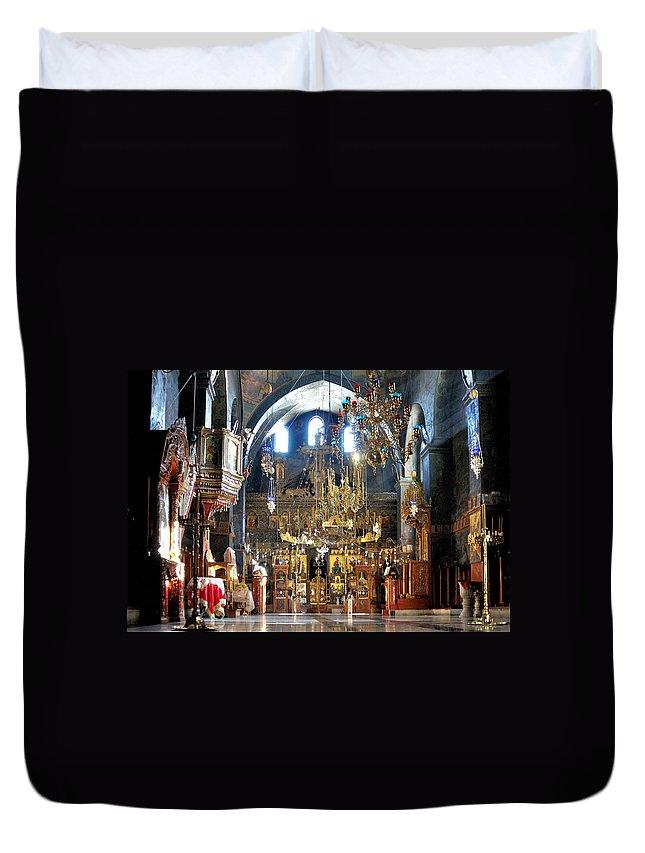 Mar Saba Duvet Cover featuring the photograph Inside The Church by Munir Alawi