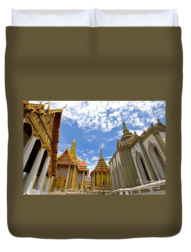 Architecture Duvet Cover featuring the photograph Inside The Grand Palace Bangkok by Charuhas Images