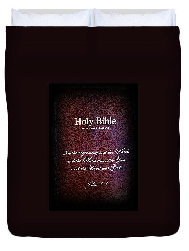 Bible Duvet Cover featuring the photograph Inspirations 17 John 1 V1 by Sara Raber