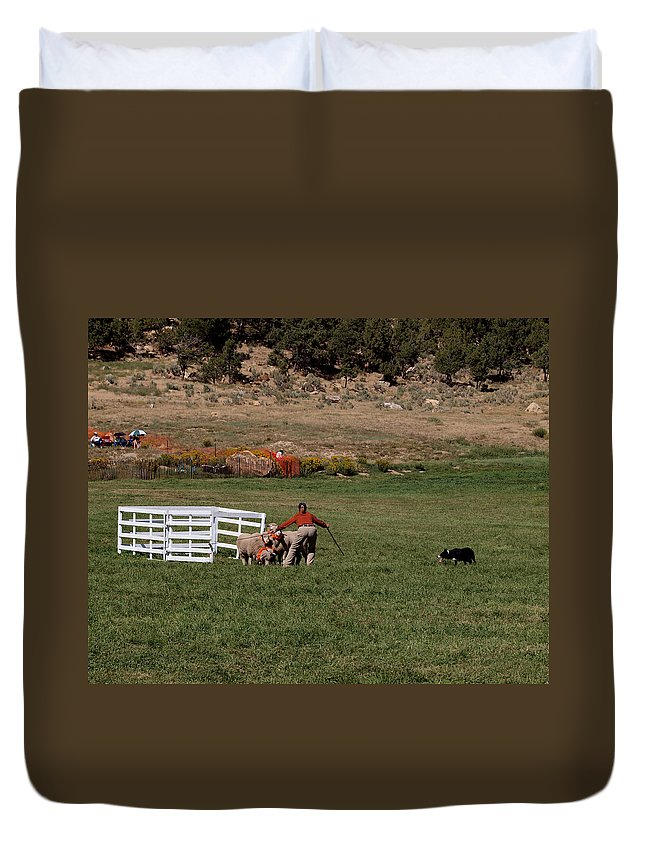 Sheep Duvet Cover featuring the photograph Into The Paddock by Joshua House