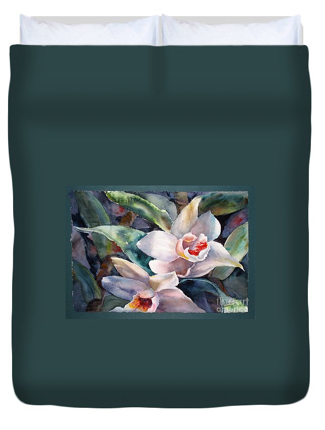 Flower Duvet Cover featuring the painting Inviting by Mohamed Hirji