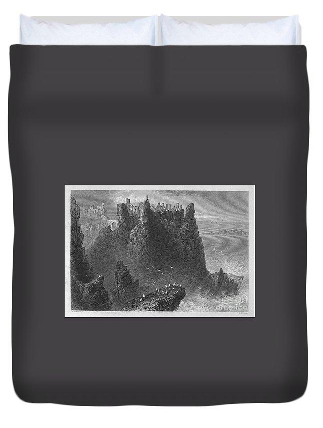 1840 Duvet Cover featuring the photograph Ireland: Dunluce Castle by Granger