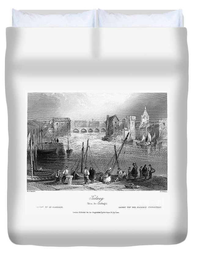 1840 Duvet Cover featuring the photograph Ireland: Galway, C1840 by Granger