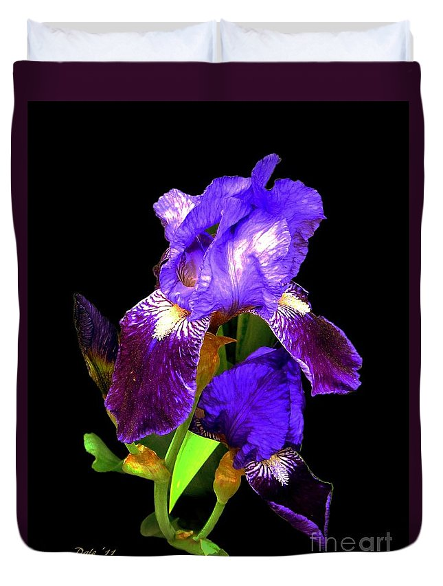 Iris Duvet Cover featuring the digital art Iris On Black by Dale  Ford