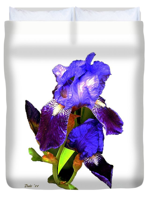 Flowers Duvet Cover featuring the photograph Iris On White by Dale  Ford