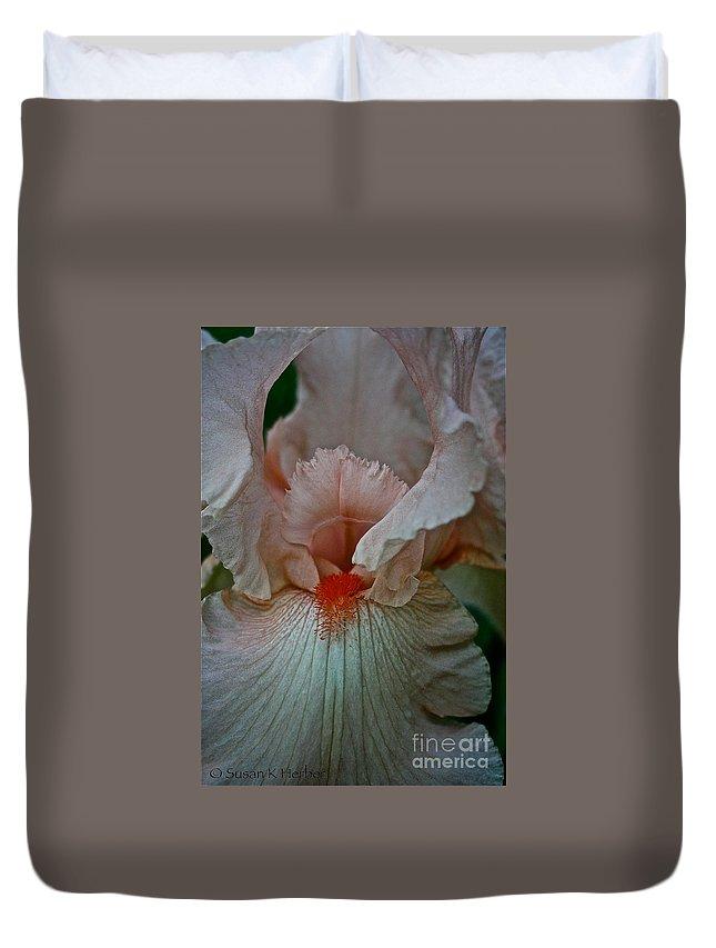 Plant Duvet Cover featuring the photograph Iris Orange Beard by Susan Herber