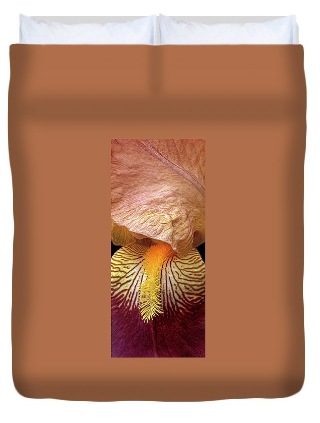 Iris Duvet Cover featuring the photograph Iris Study by Dave Mills