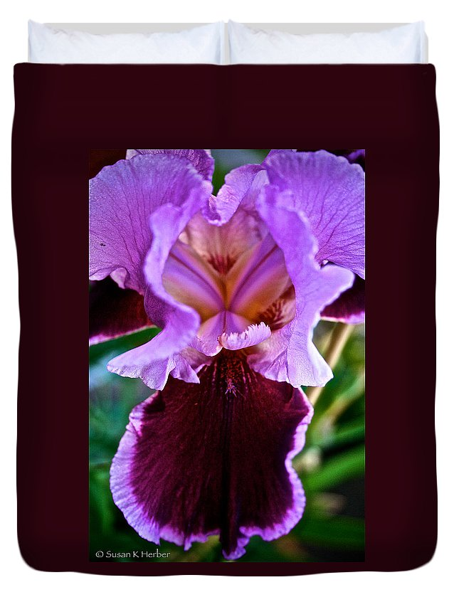 Outdoors Duvet Cover featuring the photograph Iris by Susan Herber