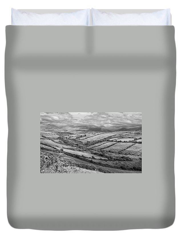 Bw Duvet Cover featuring the photograph Irish Fields by David Resnikoff
