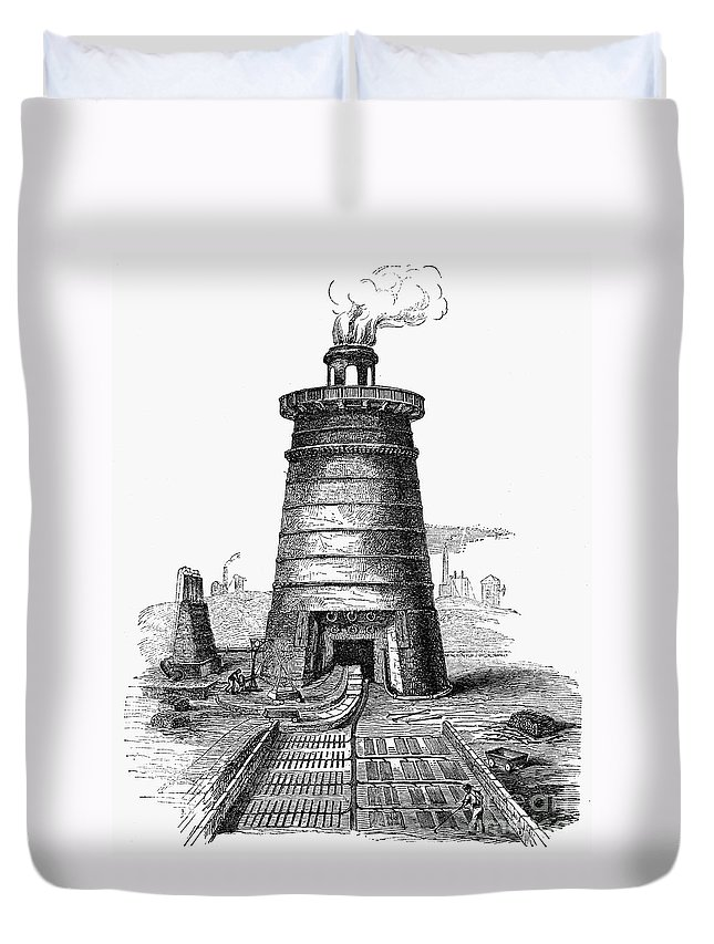 1855 Duvet Cover featuring the photograph Iron Smelting, C1855 by Granger