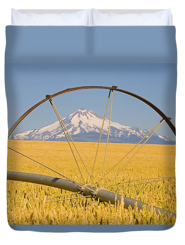 Crop Duvet Cover featuring the photograph Irrigation Pipe In Wheat Field With by Craig Tuttle
