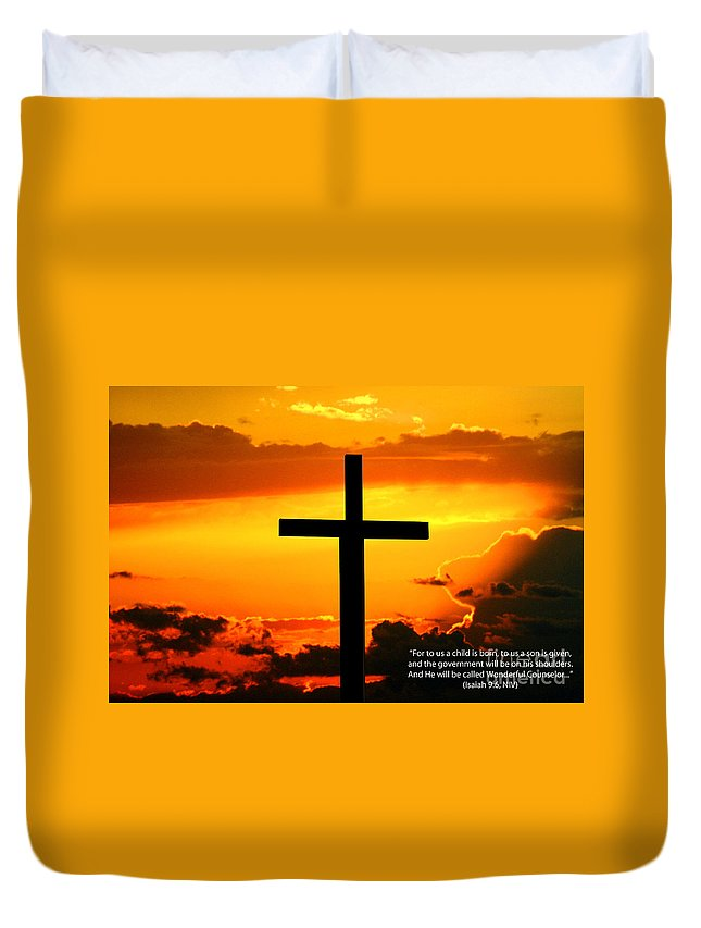 Christ Duvet Cover featuring the photograph Isaiah 9-6 Niv by Tommy Anderson