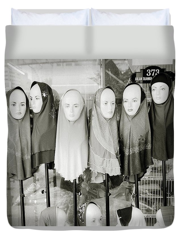 Asia Duvet Cover featuring the photograph Islamic Mannequins by Shaun Higson